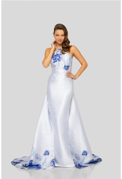 Terani Couture - 1911P8185 Floral Printed Halter Dress With Train In White and Blue