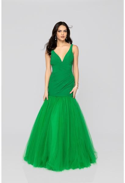 Terani Couture - 1911P8349 Deep V-neck Tulle Mermaid Dress In Green