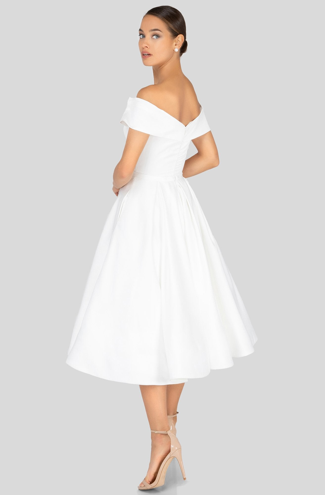 Terani Couture - 1912C9656 Off-Shoulder Tea Length A-line Dress In White
