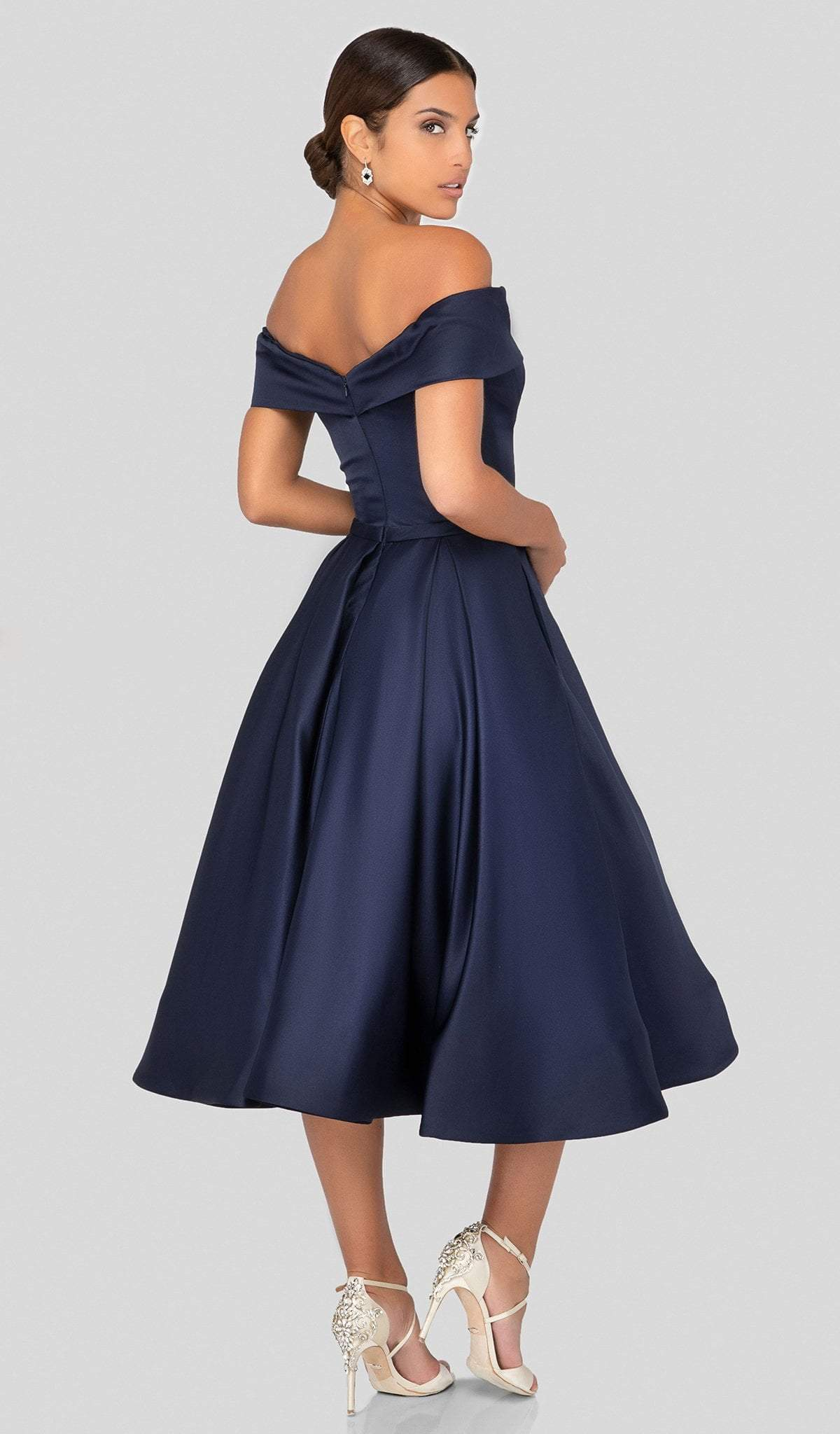 Terani Couture - 1912C9656 Off-Shoulder Tea Length A-line Dress In Blue
