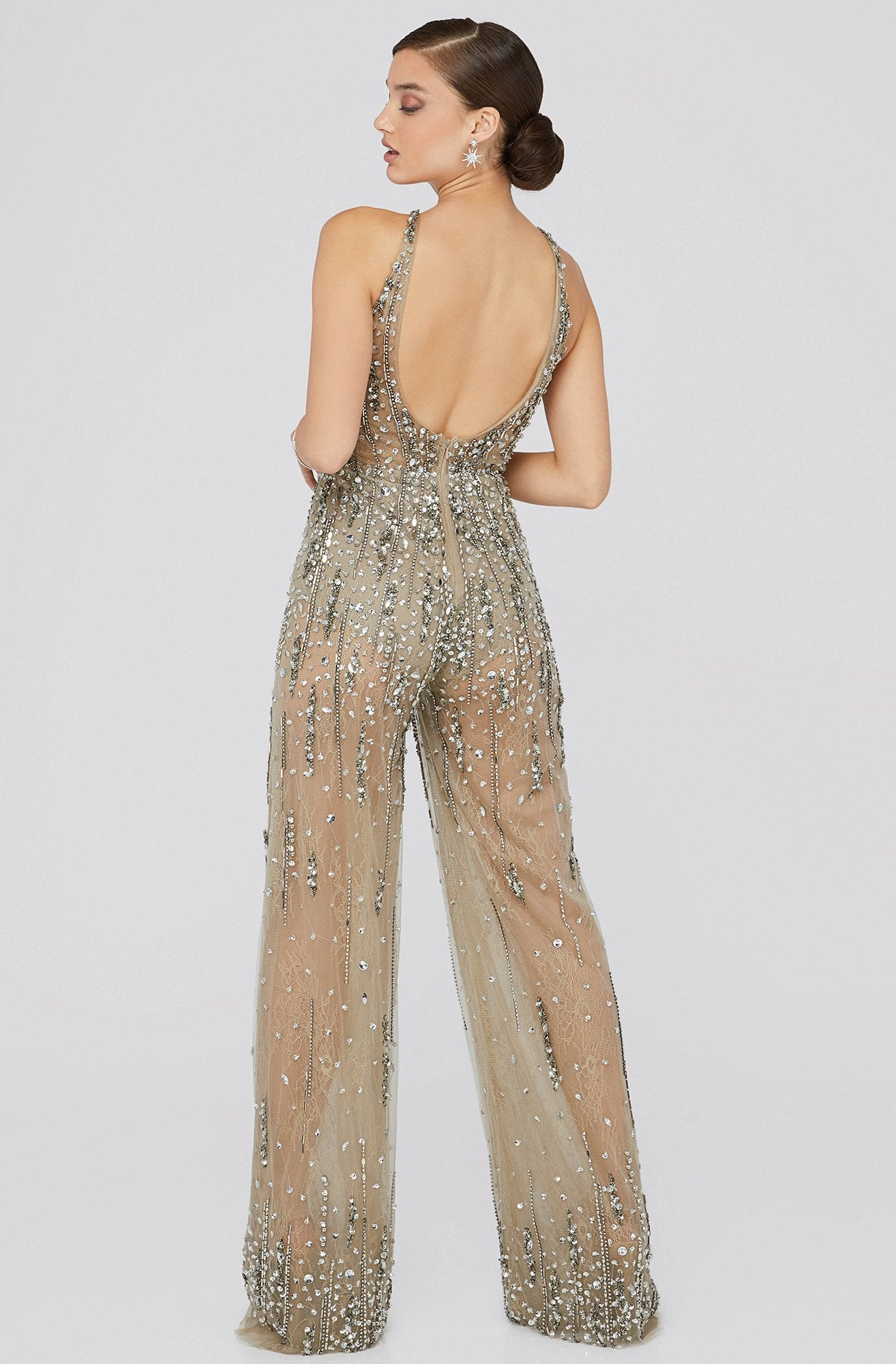 Terani Couture - 1912E9156 Crystal Beaded Lace Halter Jumpsuit In Gray