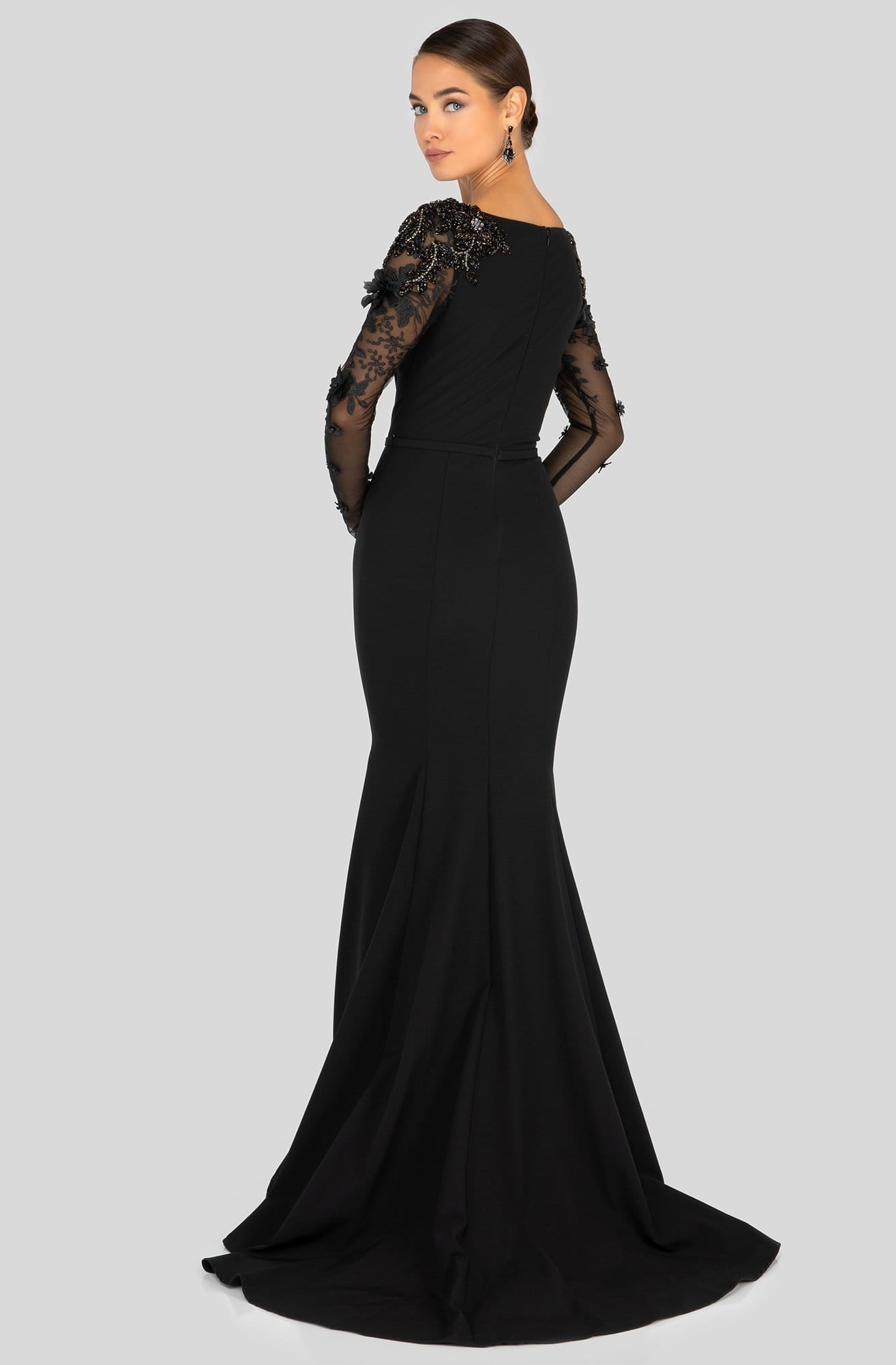 Terani Couture - 1912E9179 Long Sleeve Applique Bateau Trumpet Dress in Black