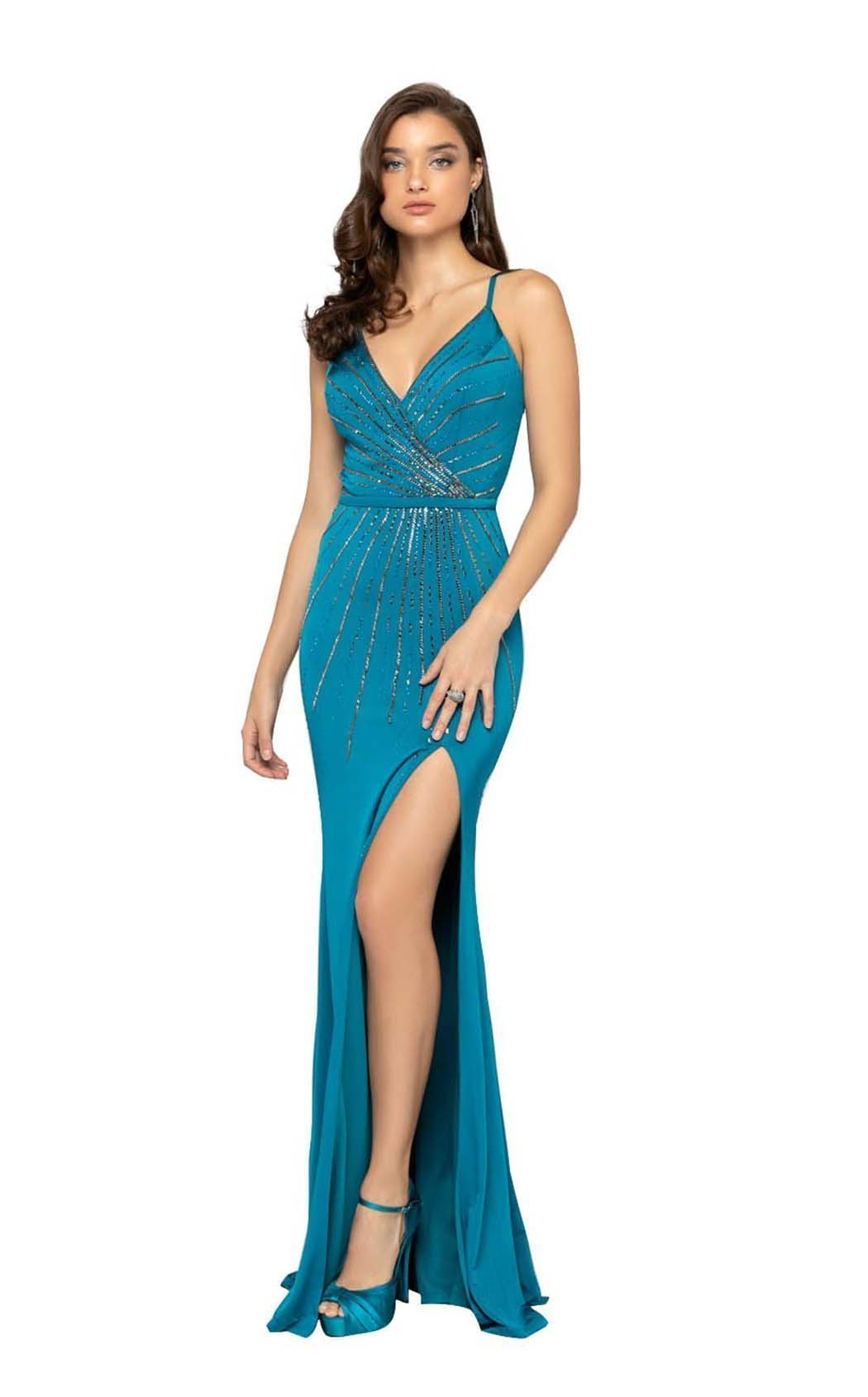 Terani Couture - Beaded Plunging V-neck Trumpet Dress 1912P8228SC