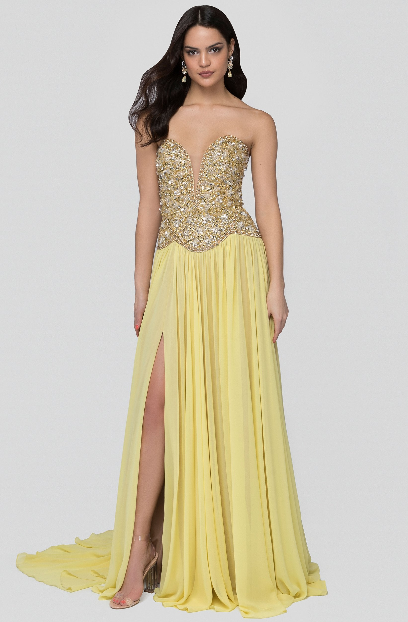 Terani Couture - 1912P8239 Beaded Plunging Sweetheart Dress In Yellow