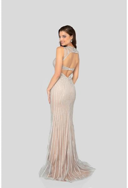Terani Couture - 1912P8225 Beaded Sweetheart Sheath Dress In Silver