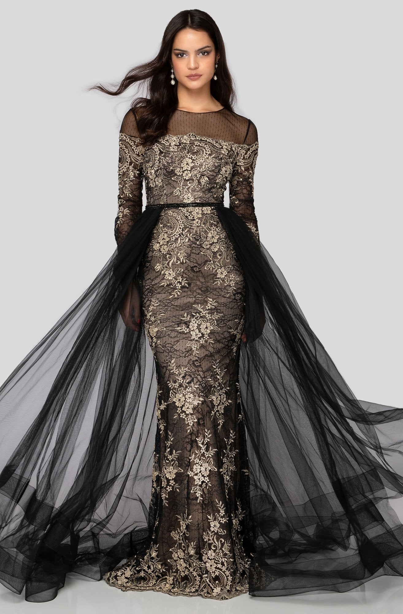 Terani Couture - 1913E9258 Lace Illusion Jewel Dress With Overskirt In Black and Gold
