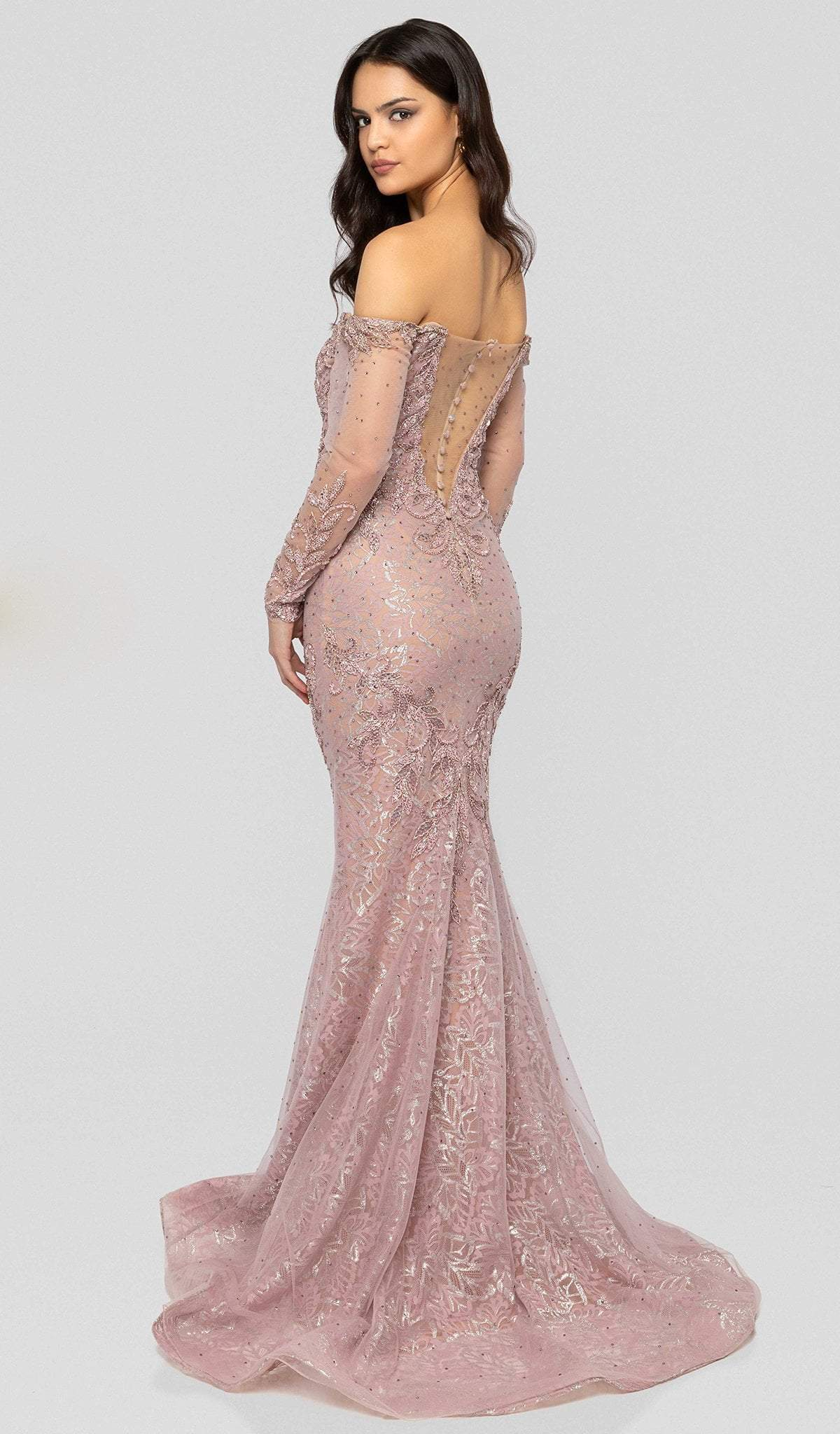 Terani Couture - 1913GL9587 Embellished Plunging Off-Shoulder Dress In Pink and Nude
