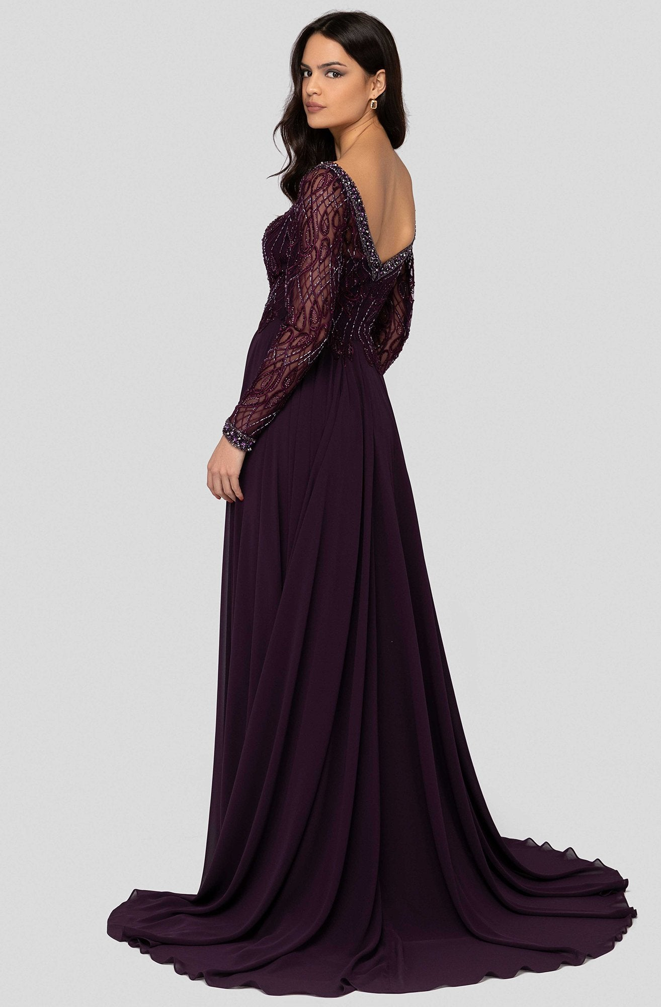 Terani Couture - 1913M9419 Embellished Long Sleeve Bateau A-line Dress In Purple