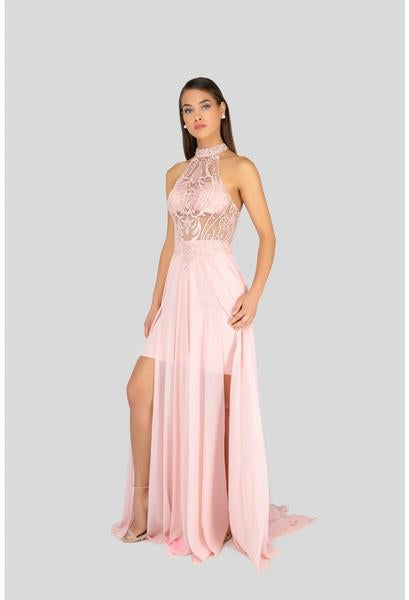 Terani Couture - 1913P8298 Sheer High Halter Evening Dress In Pink