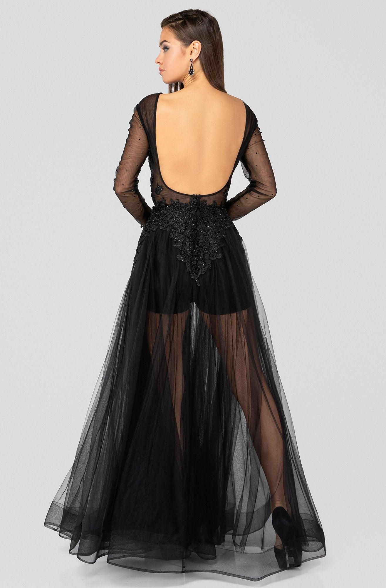 Terani Couture - 1915P8344 Plunging V-Neck Long Sleeves Dress In Black