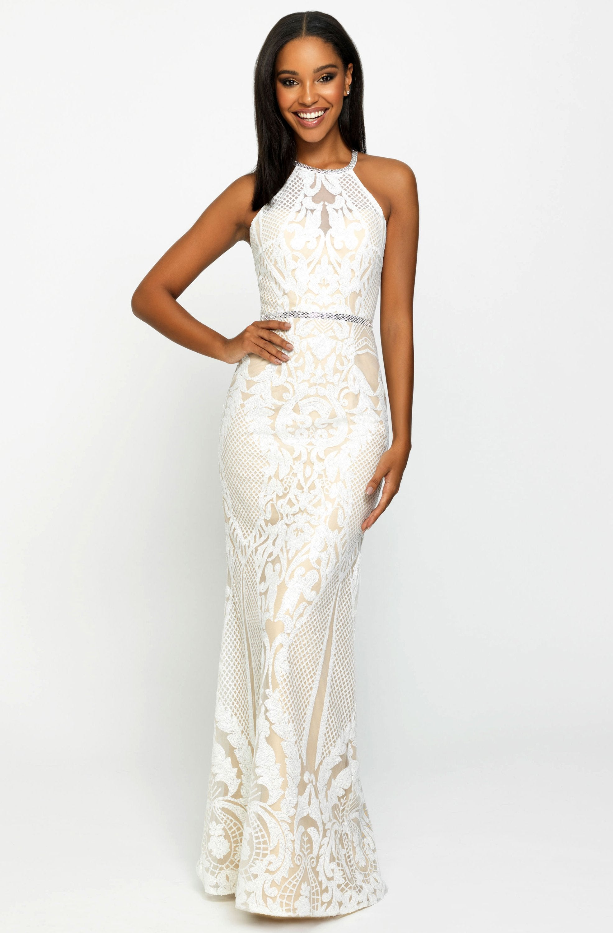 Madison James - Sequined Halter Trumpet Dress 19-173 In White
