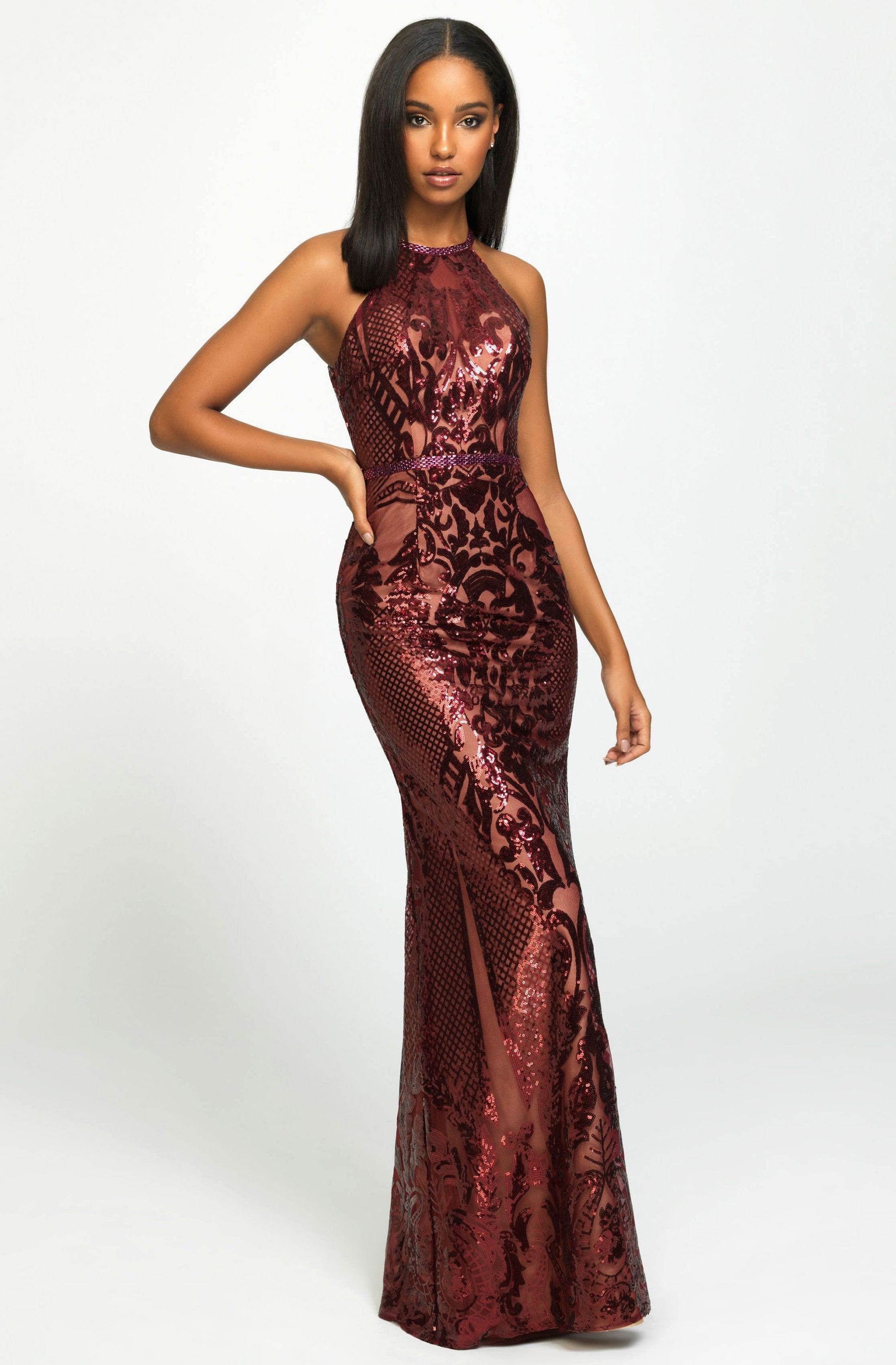 Madison James - Sequined Halter Trumpet Dress 19-173 In Red