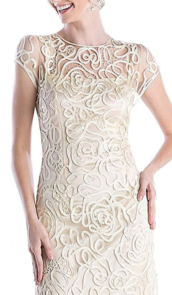 Cinderella Divine - Embellished Illusion Jewel Neck Sheath Dress 1920 In Nude