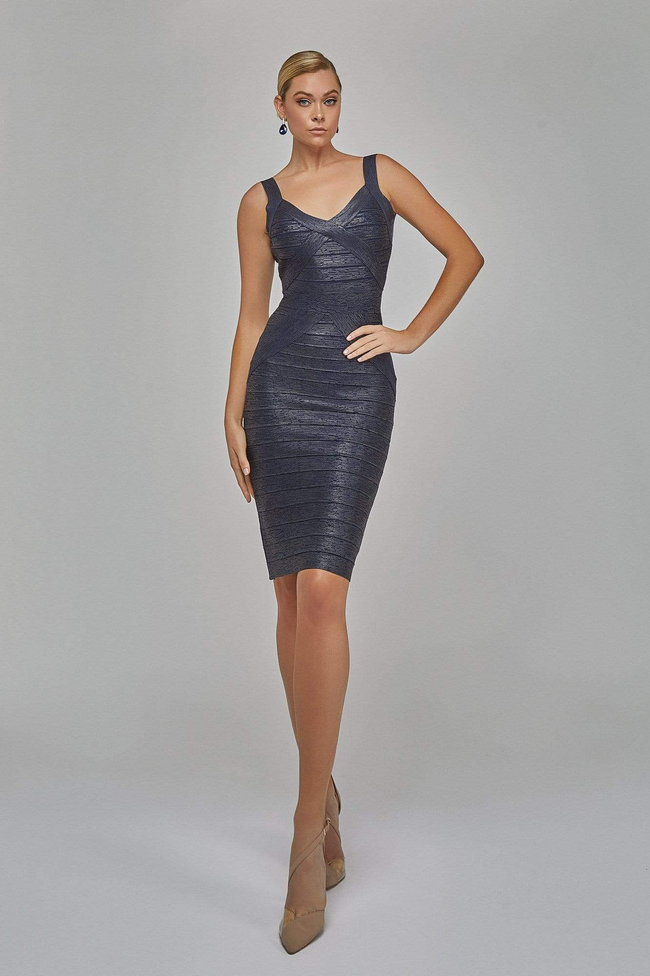 Terani Couture - 1921C0011 Stretch Metallic Knit Bandage Dress In Navy