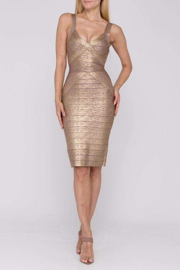 Terani Couture - 1921C0011 Stretch Metallic Knit Bandage Dress Cocktail Dresses 0 / Rose Gold