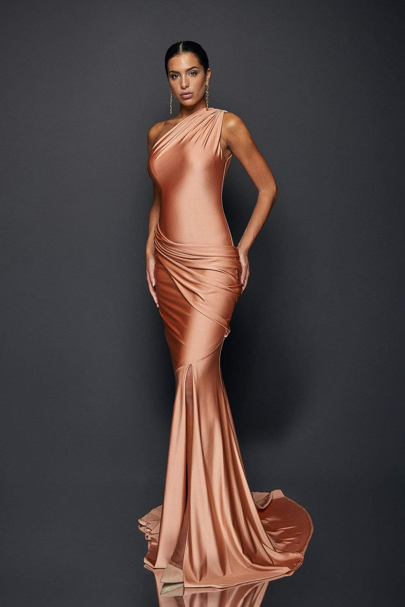 Terani Couture - 1921E0123 One Shoulder Draped Jersey Mermaid Gown In Pink and Gold