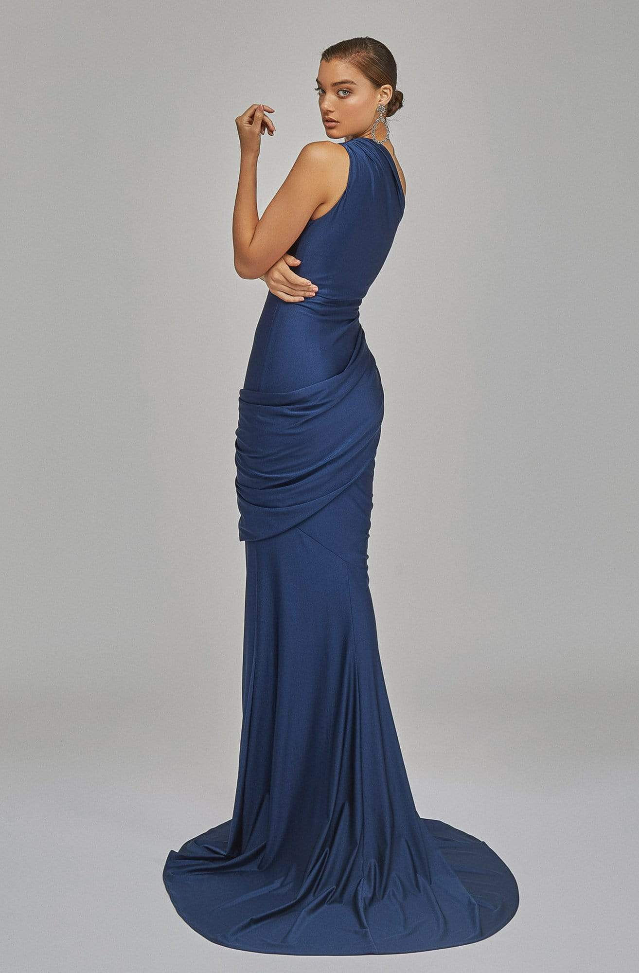 Terani Couture - 1921E0123 One Shoulder Draped Jersey Mermaid Gown In Blue