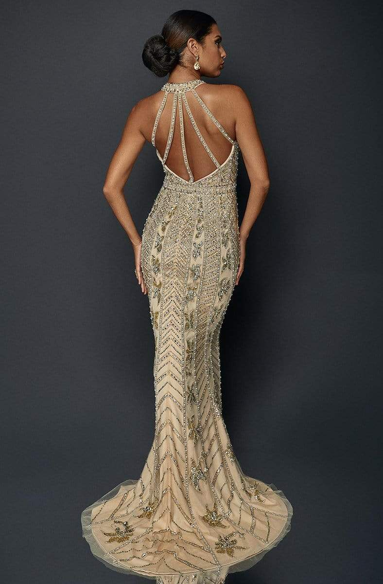 Terani Couture - 1921GL0626 Embellished Halter Mermaid Gown With Train in Neutral and Gold