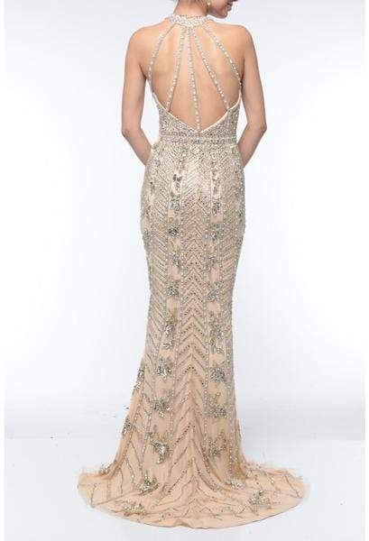 Terani Couture - 1921GL0626 Embellished Halter Mermaid Gown With Train Evening Dresses