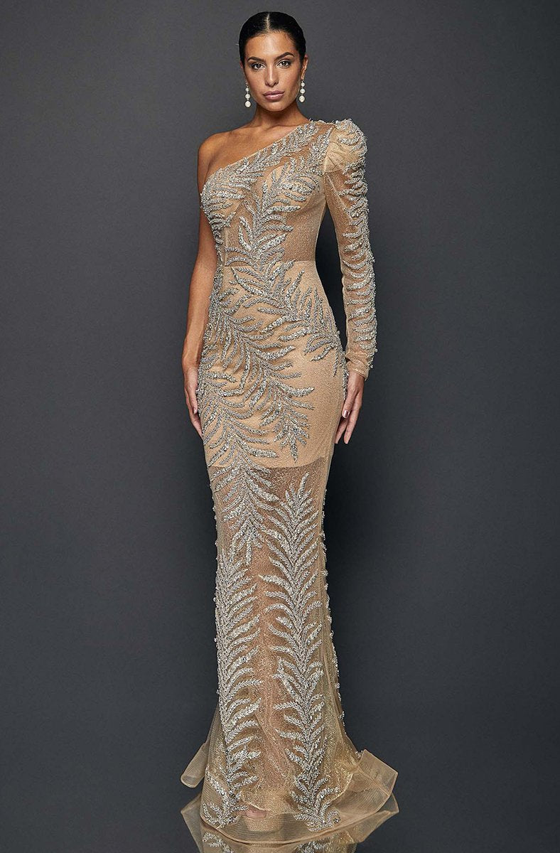 Terani Couture - 1922GL0659 Embellished Asymmetric Long Sheath Dress In Neutral