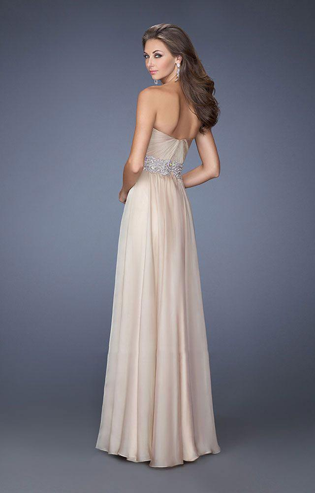 La Femme - Classy Strapless Sweetheart Dress with Bejeweled Belt 19931 In Neutral
