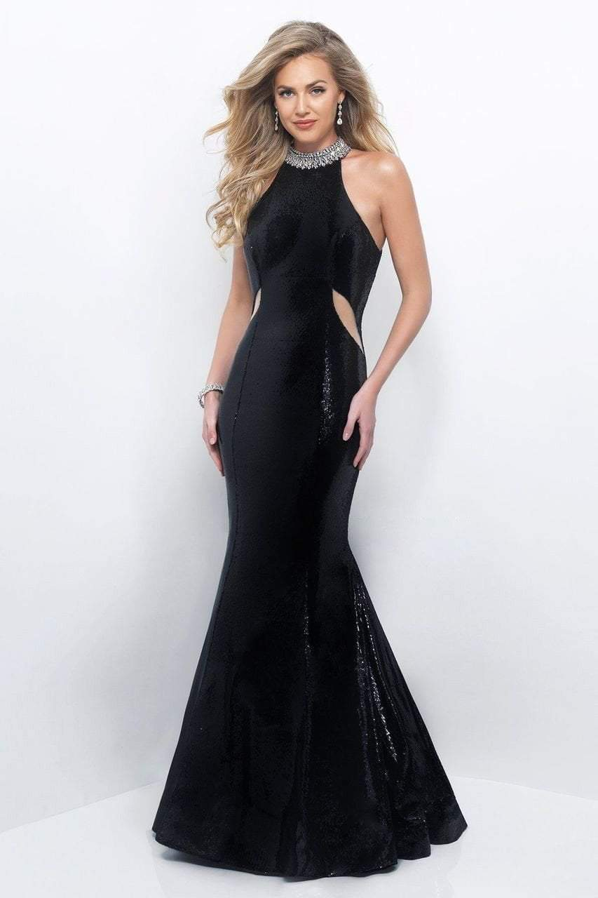 Blush by Alexia Designs - 11289 Sequined High Neck Mermaid Gown Special Occasion Dress 0 / Black/Silver