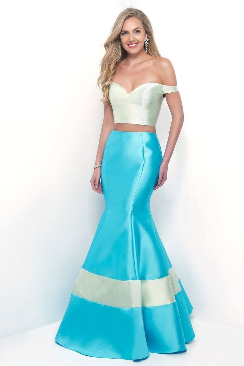 Blush by Alexia Designs - 11313 Off the Shoulder Mikado Mermaid Dress Special Occasion Dress 0 / Honeydew/Sky Blue