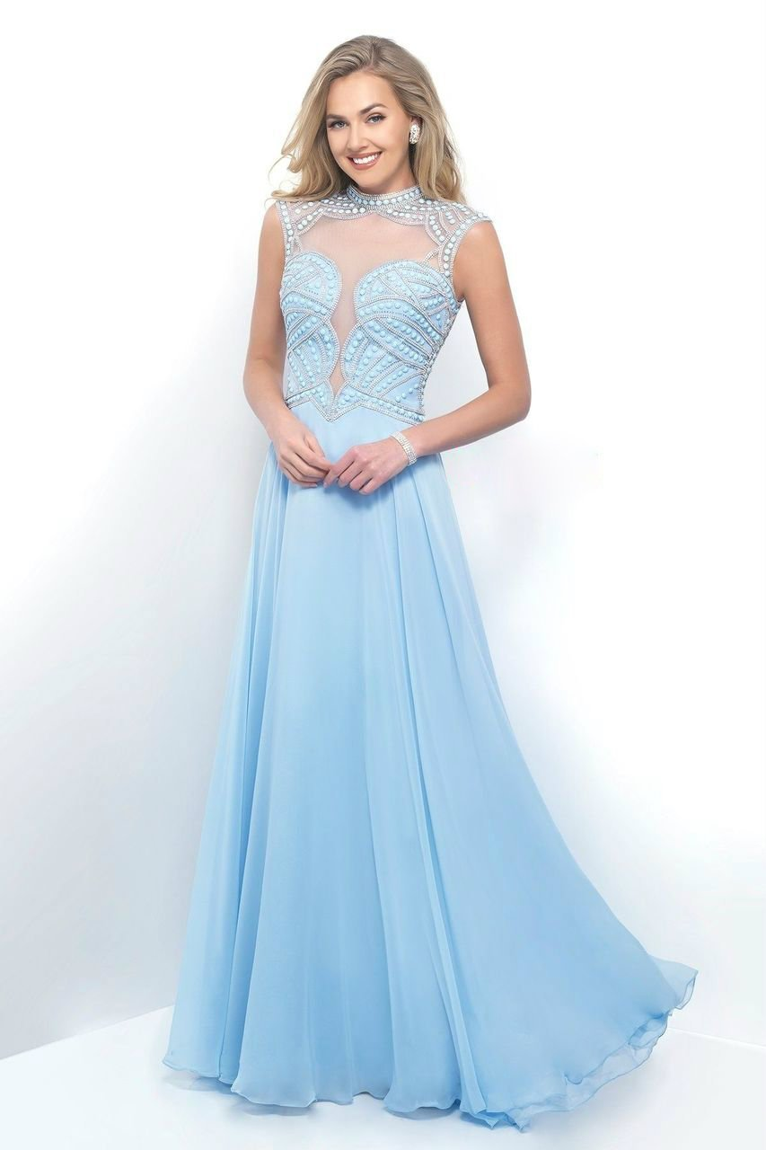 Blush - 11348 Flowing High Plunging Chiffon A-Line Gown Special Occasion Dress 0 / Powder Blue