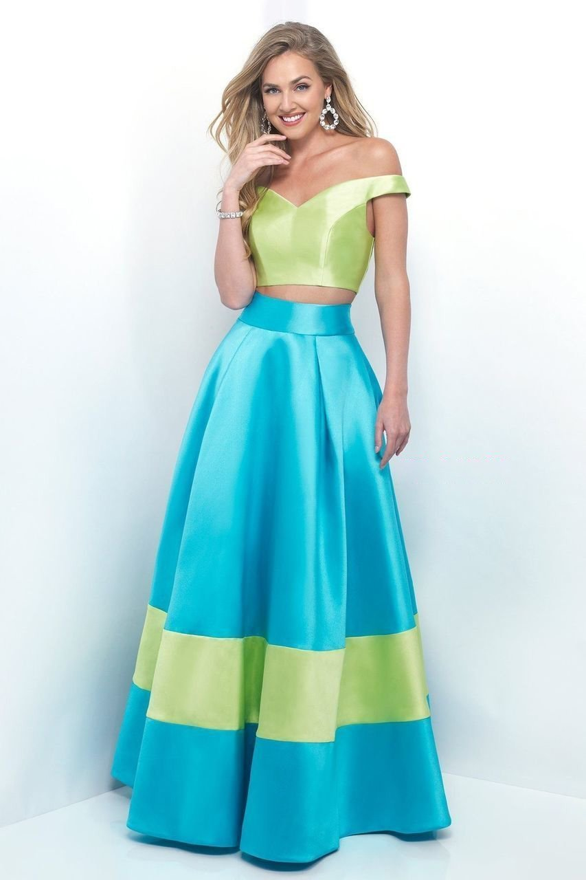 Blush by Alexia Designs - 5620 Vibrant Off-Shoulder Sleek A-Line Gown Special Occasion Dress 0 / Lime/Turquosie