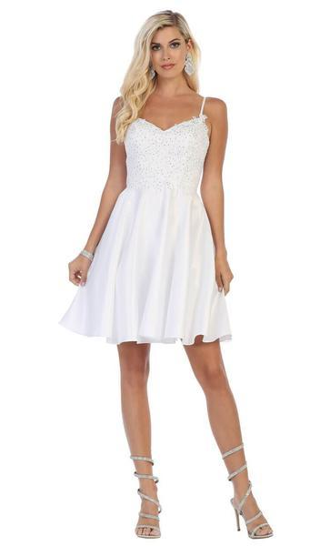 May Queen - Beaded Lace V-Neck A-Line Short Party Dress MQ1652  In White