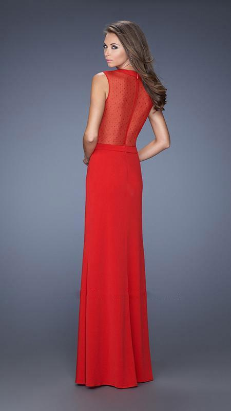La Femme - Beautiful Hourglass Illusion Evening Dress 20049 In Red