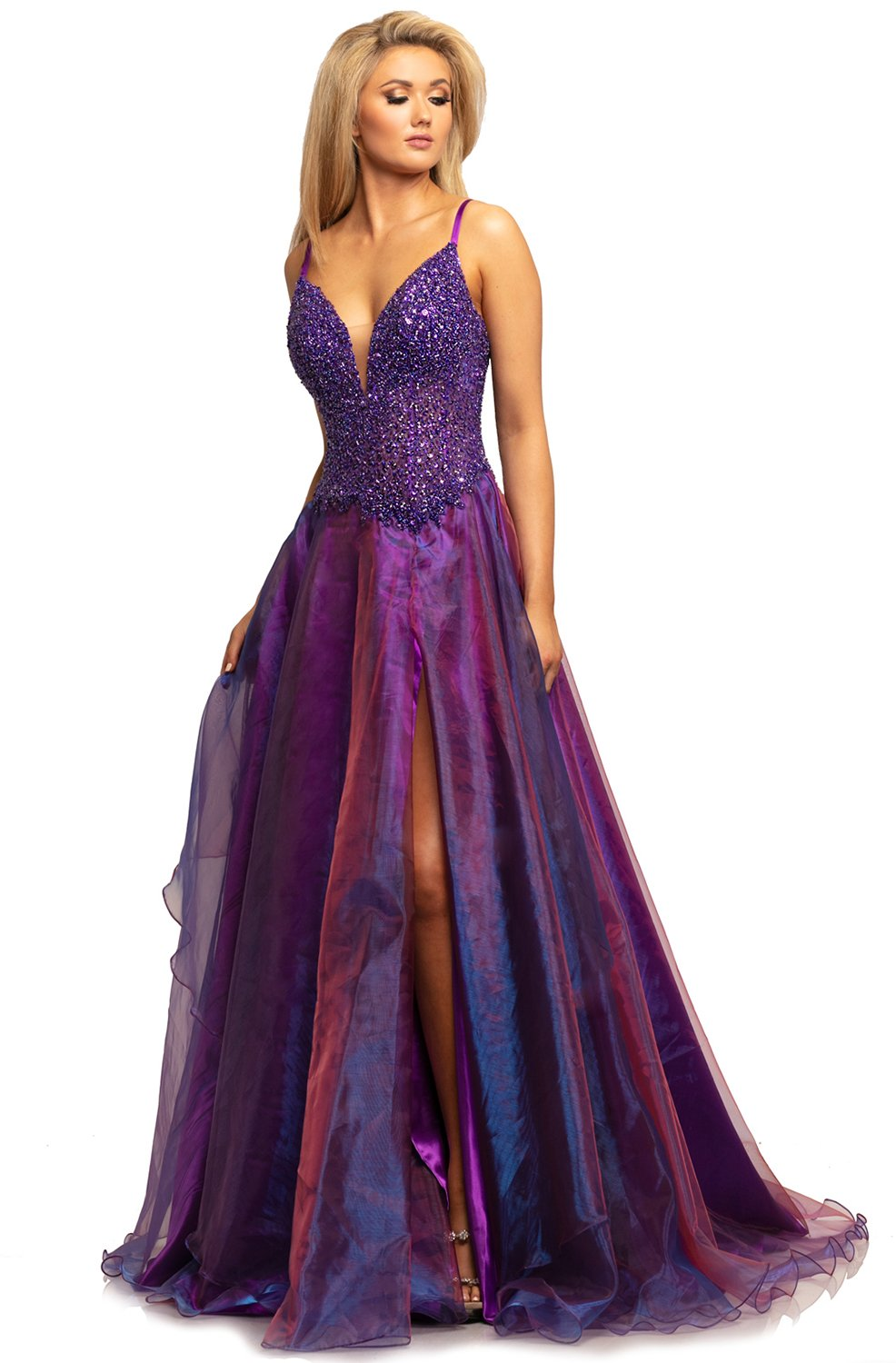 Johnathan Kayne - 2006 Embellished Deep V-neck A-line Gown In Purple