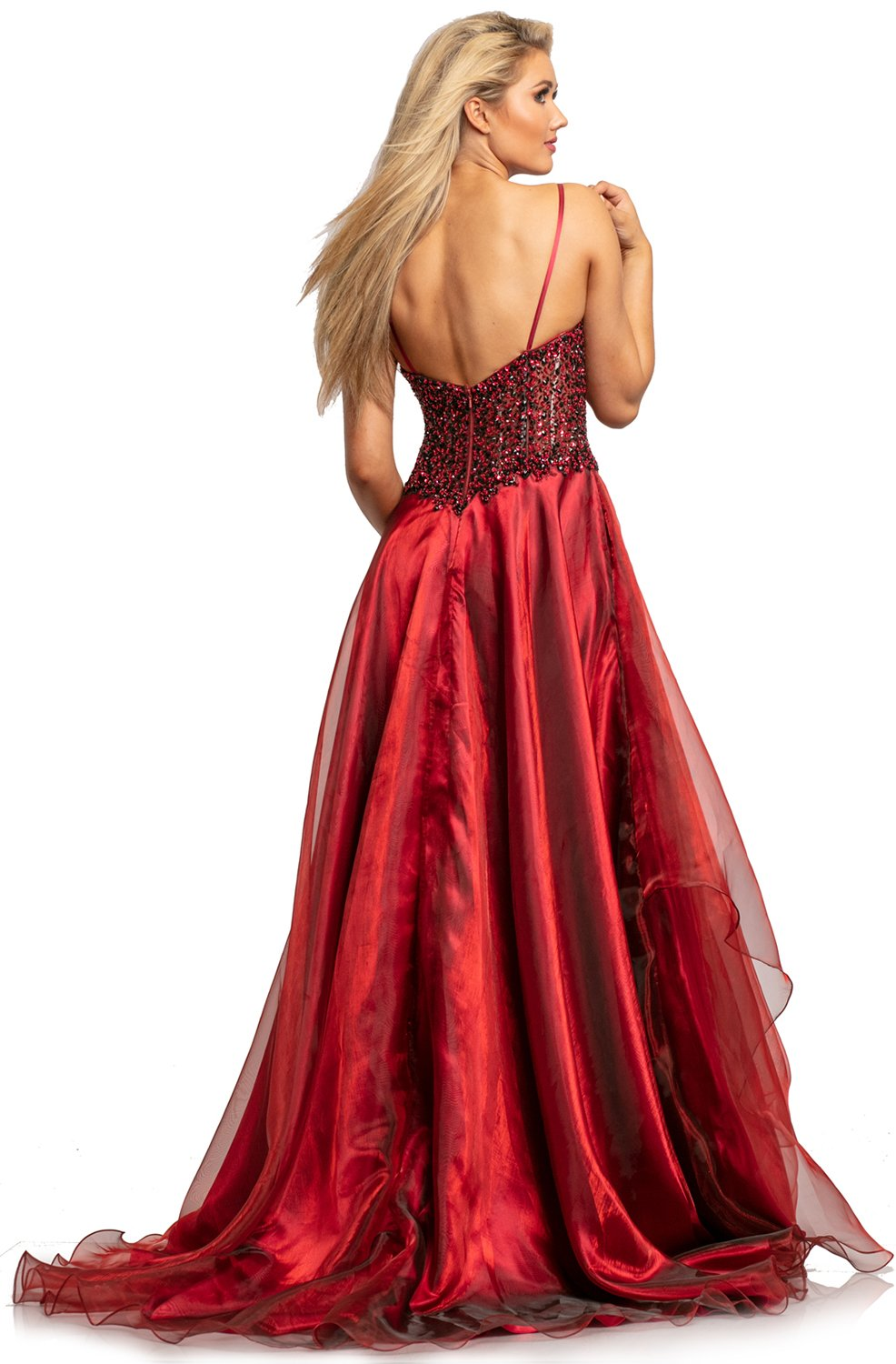 Johnathan Kayne - 2006 Embellished Deep V-neck A-line Gown In Red