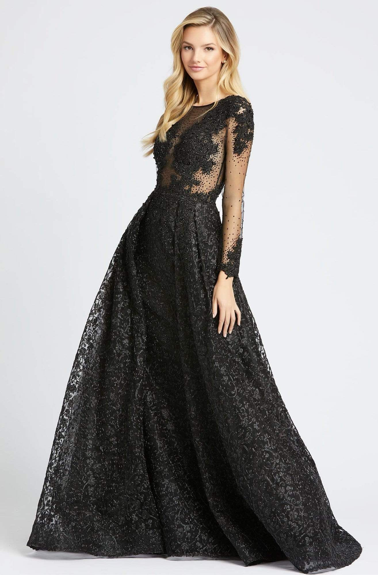 Mac Duggal - 20100D Embellished Sheer Long Sleeves Gown with Overlay Evening Dresses