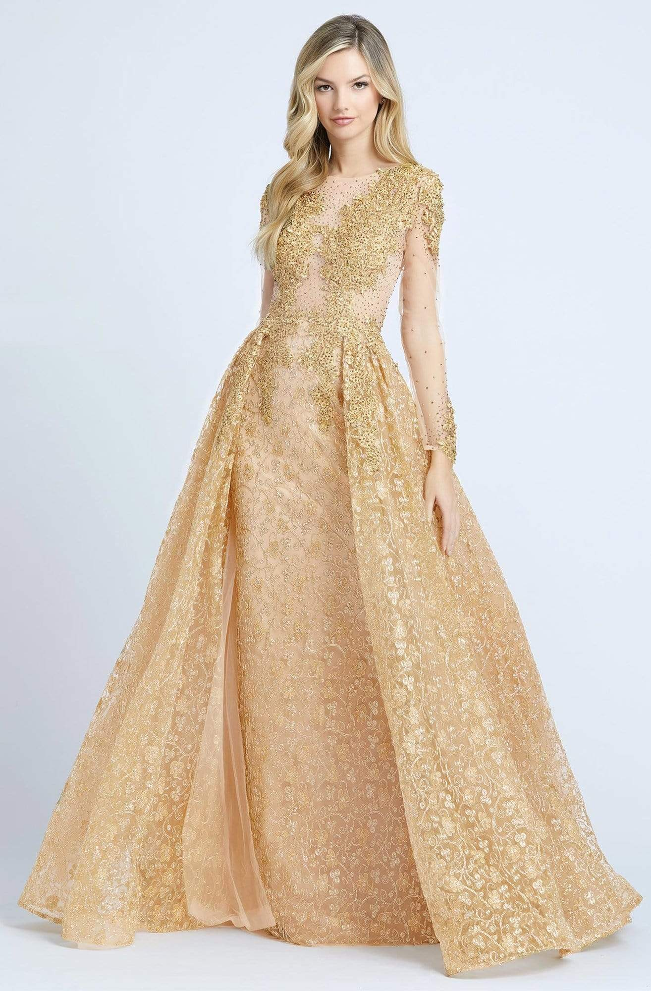Mac Duggal - 20100D Embellished Sheer Long Sleeves Gown with Overlay Evening Dresses 4 / Gold