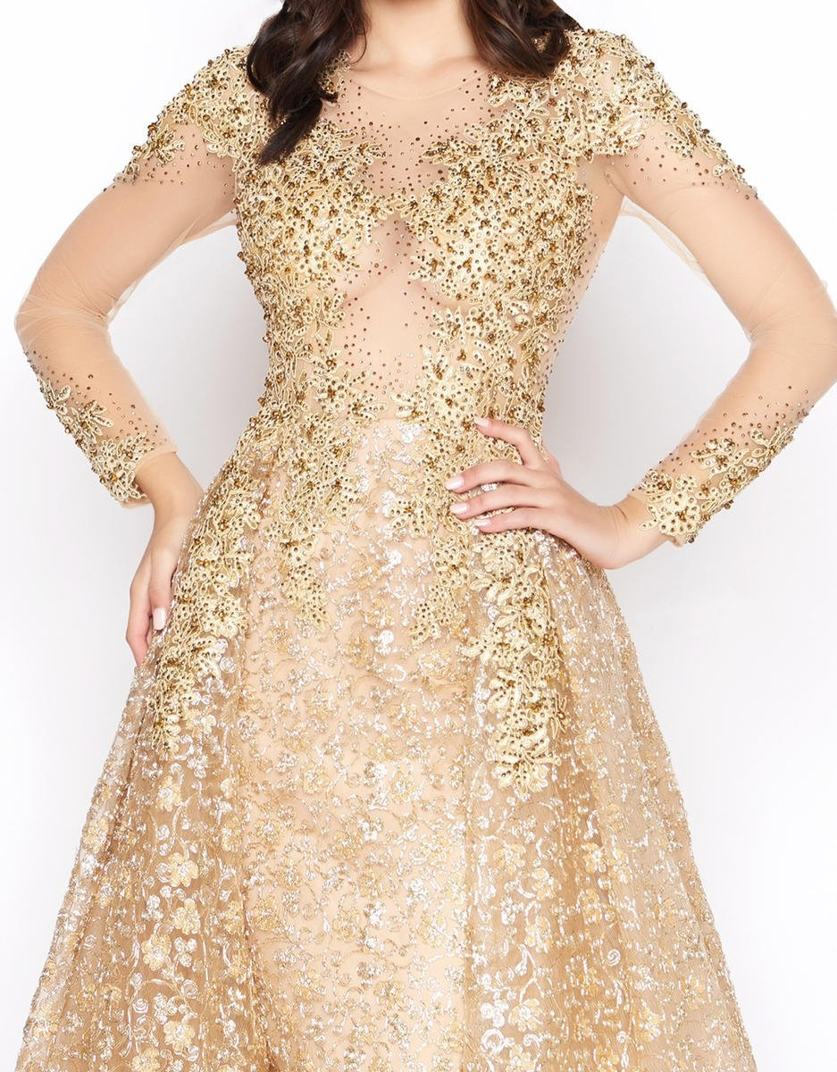 Mac Duggal - 20100D Embellished Sheer Long Sleeves Gown with Overlay in Gold