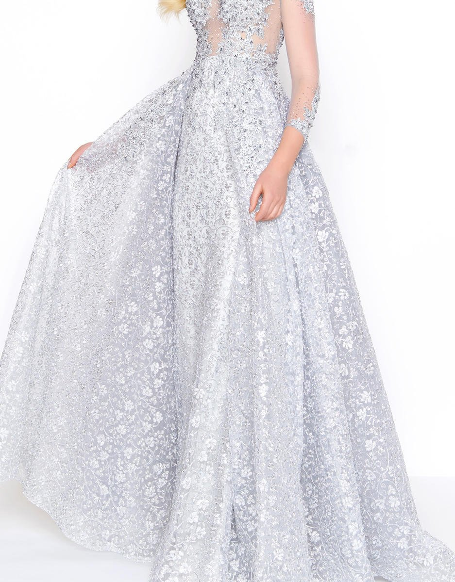 Mac Duggal - 20100D Embellished Sheer Long Sleeves Gown with Overlay in Silver