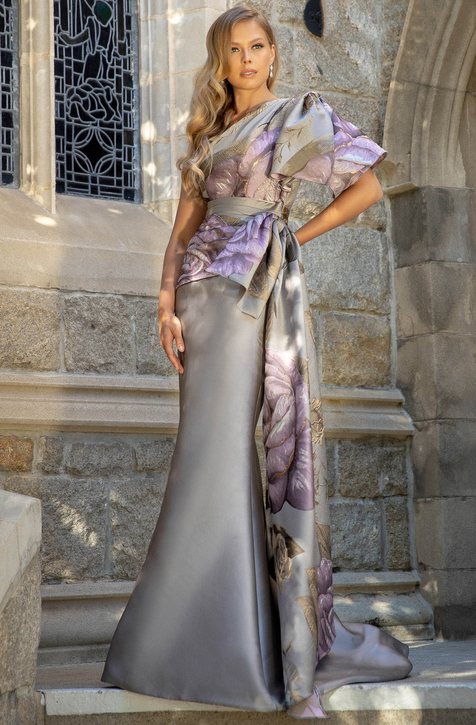 Terani Couture - 2011E2100 Floral Print Asymmetric Trumpet Dress In Pink and Gray