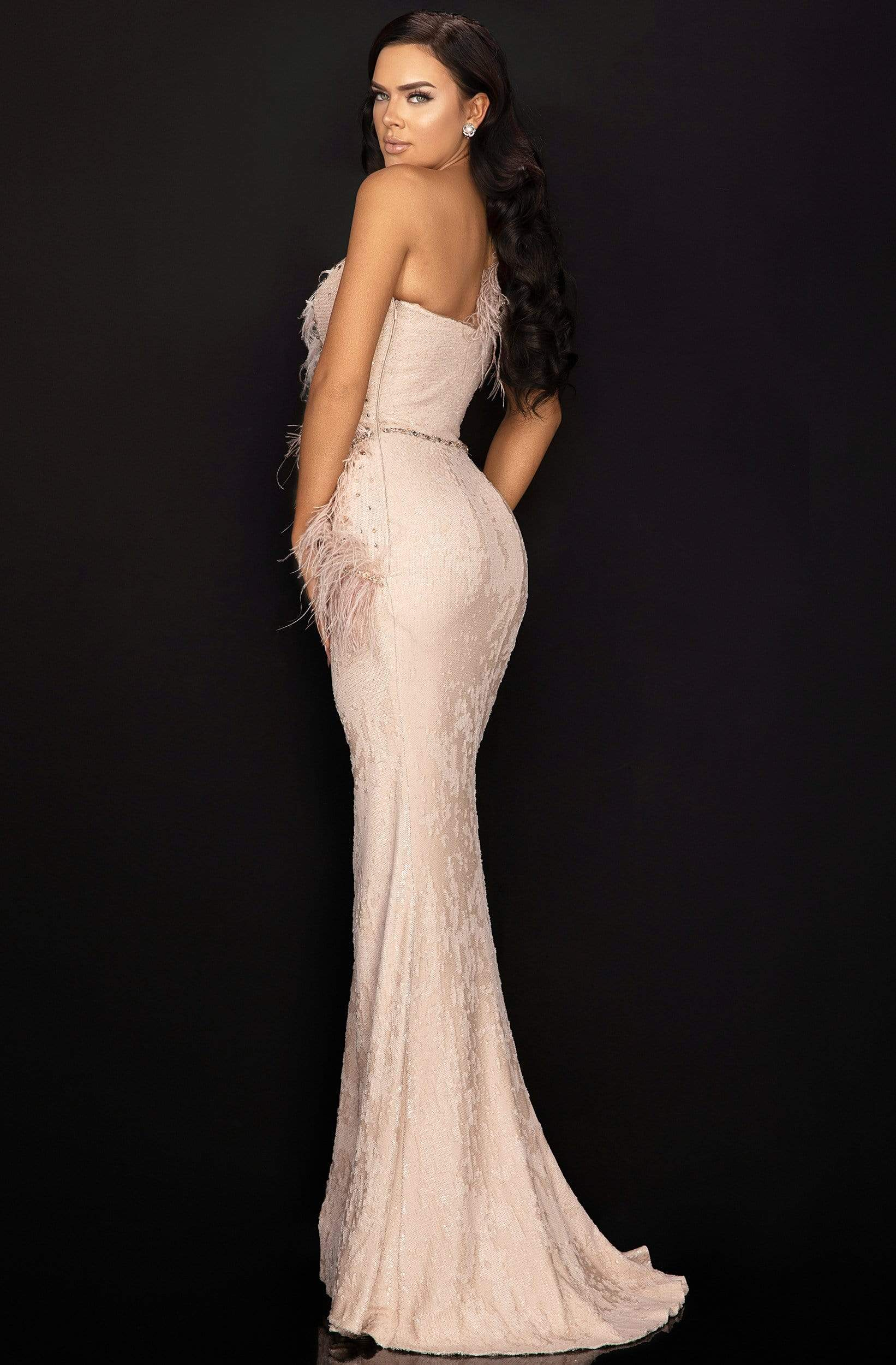 Terani Couture - 2011E2112 Feathered Asymmetric Trumpet Dress In Pink