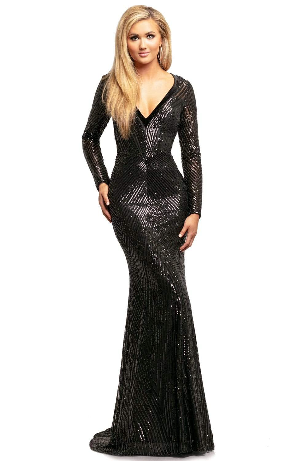 Johnathan Kayne - 2020 Wide V Neck Long Sleeve Sequin Evening Gown Evening Dresses 00 / Black