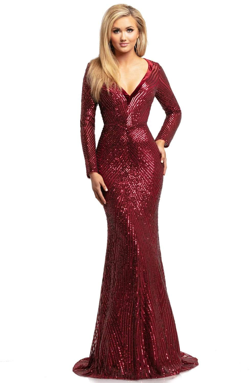Johnathan Kayne - 2020 Wide V Neck Long Sleeve Sequin Evening Gown Evening Dresses 00 / Crimson
