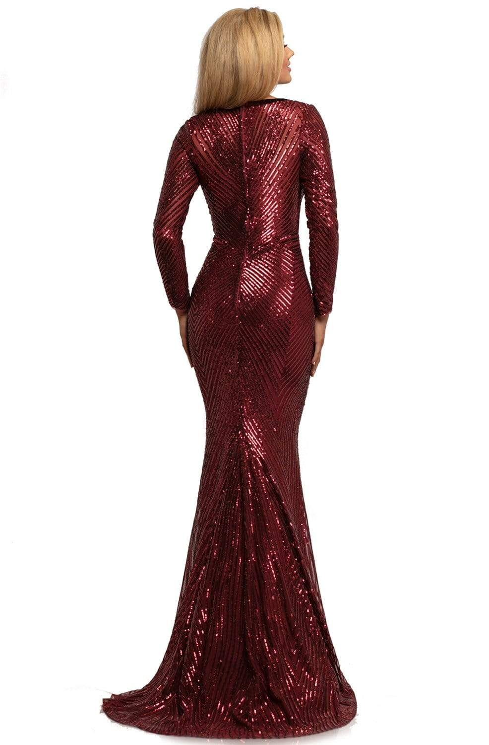 Johnathan Kayne - 2020 Wide V Neck Long Sleeve Sequin Evening Gown Evening Dresses