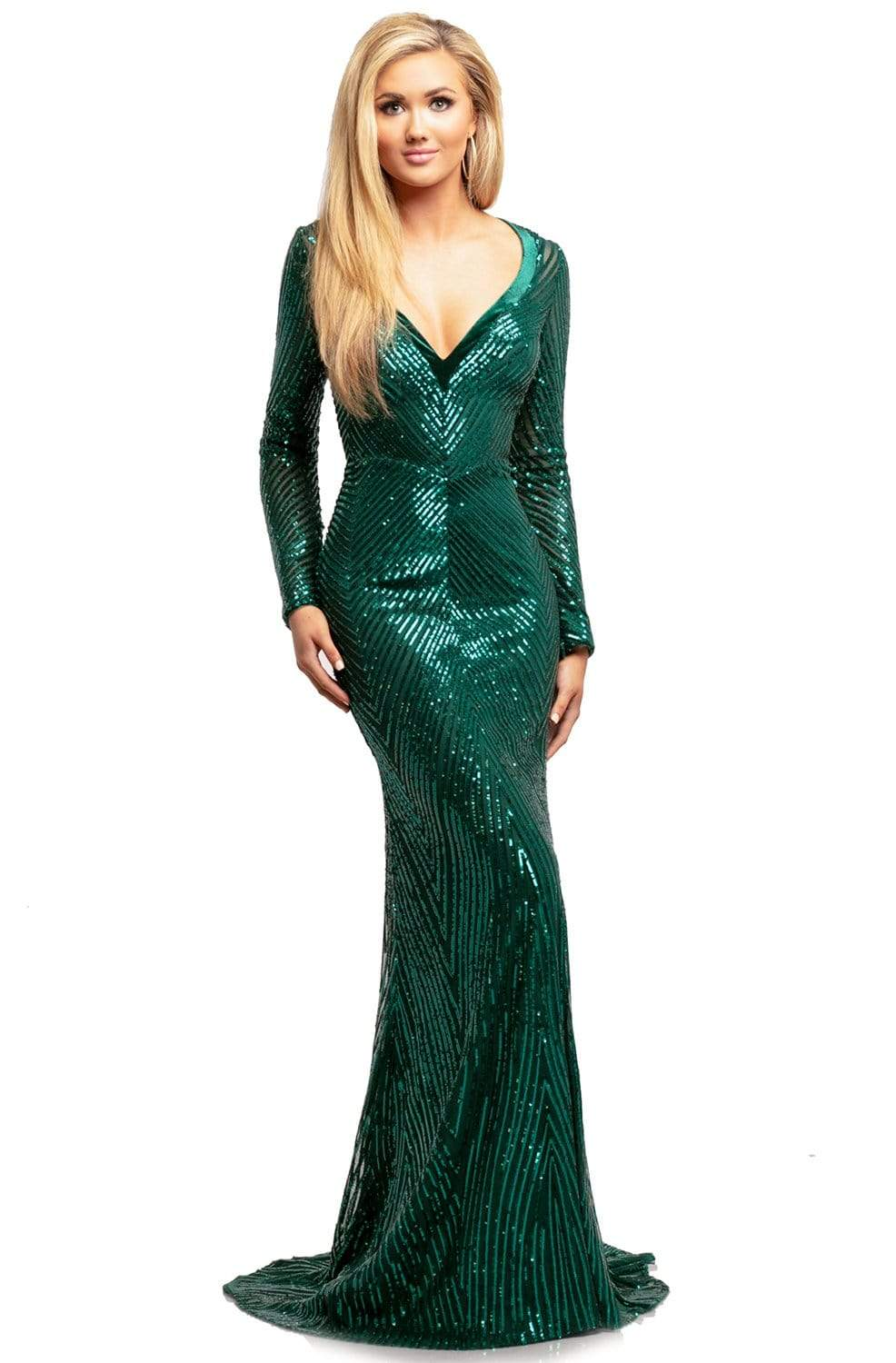Johnathan Kayne - 2020 Wide V Neck Long Sleeve Sequin Evening Gown Evening Dresses 00 / Jade