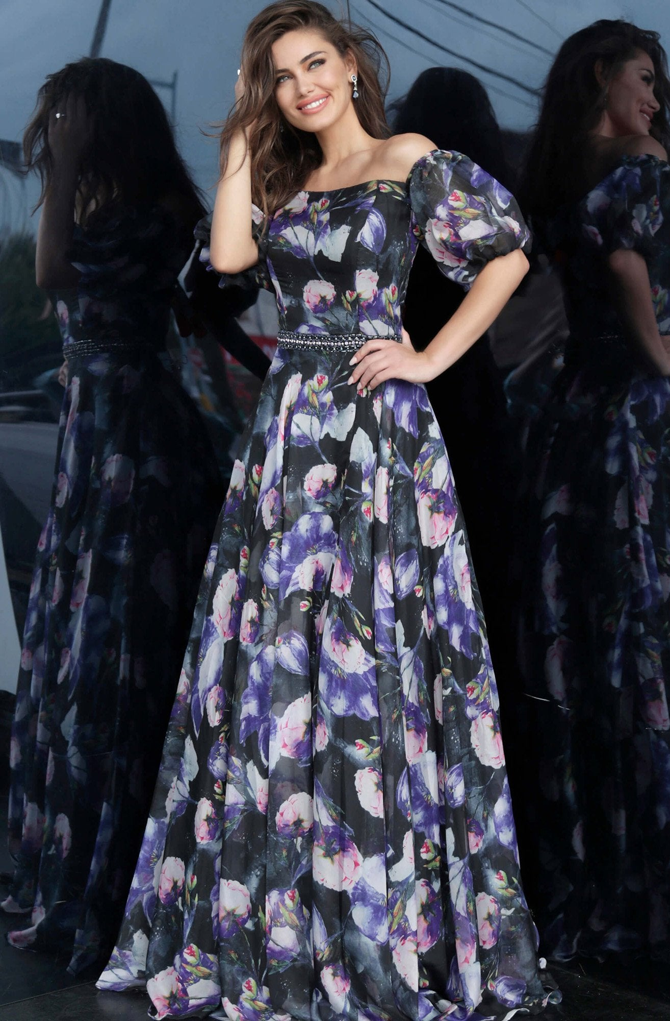 Jovani - 2022 Off-Shoulder Floral A-Line Dress in Black and Purple