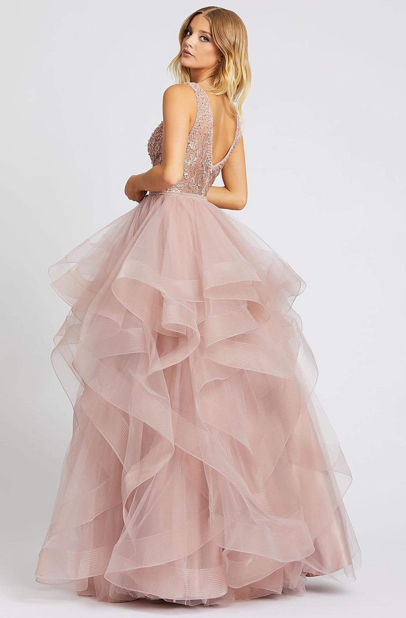 Mac Duggal Prom - 20223M Beaded Lace Plunged Bodice Tiered Gown In Pink