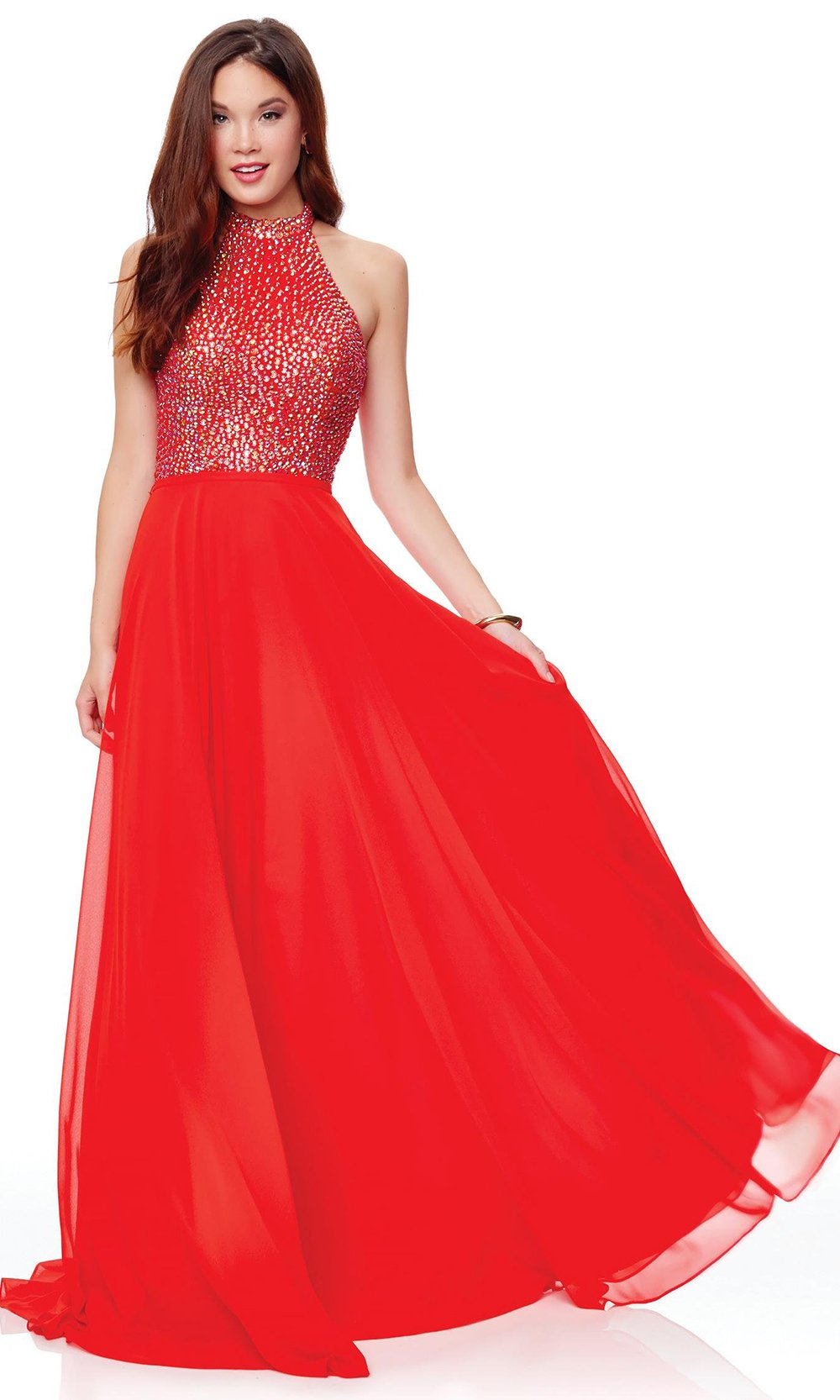 Clarisse - 3750 Rhinestone-Studded High Halter Chiffon Gown In Red