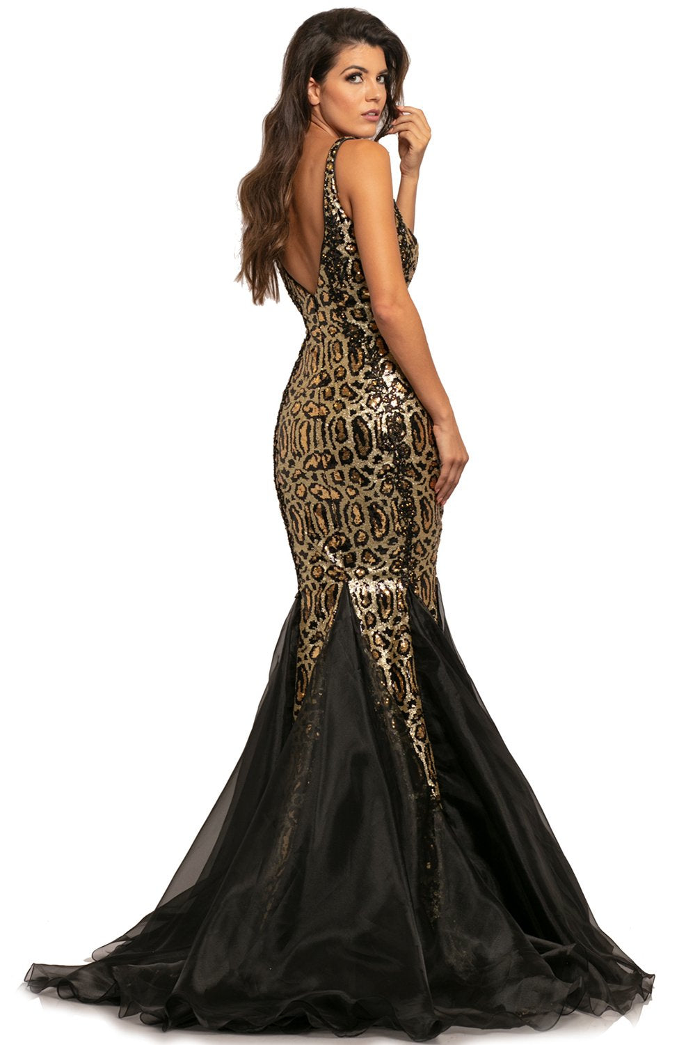 Johnathan Kayne - 2026 Sequined Deep V-neck Mermaid Dress In Gold and Black