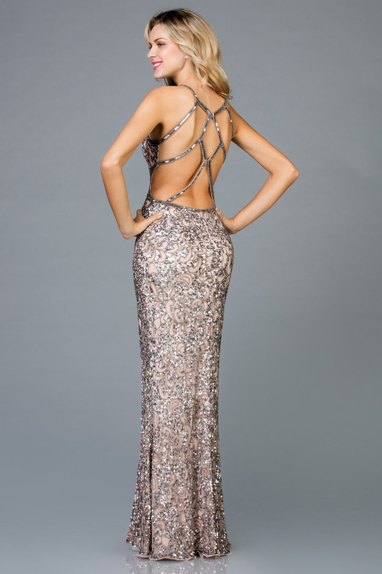SCALA - Sequin Ornate Sheath Gown 48932 In Gold