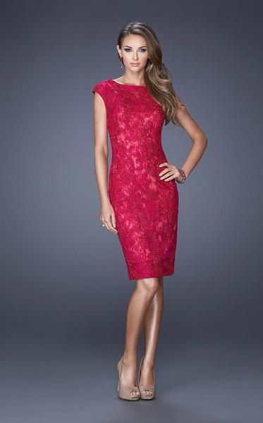 La Femme - Lace Illusion Bateau Column Dress 20484 In Red