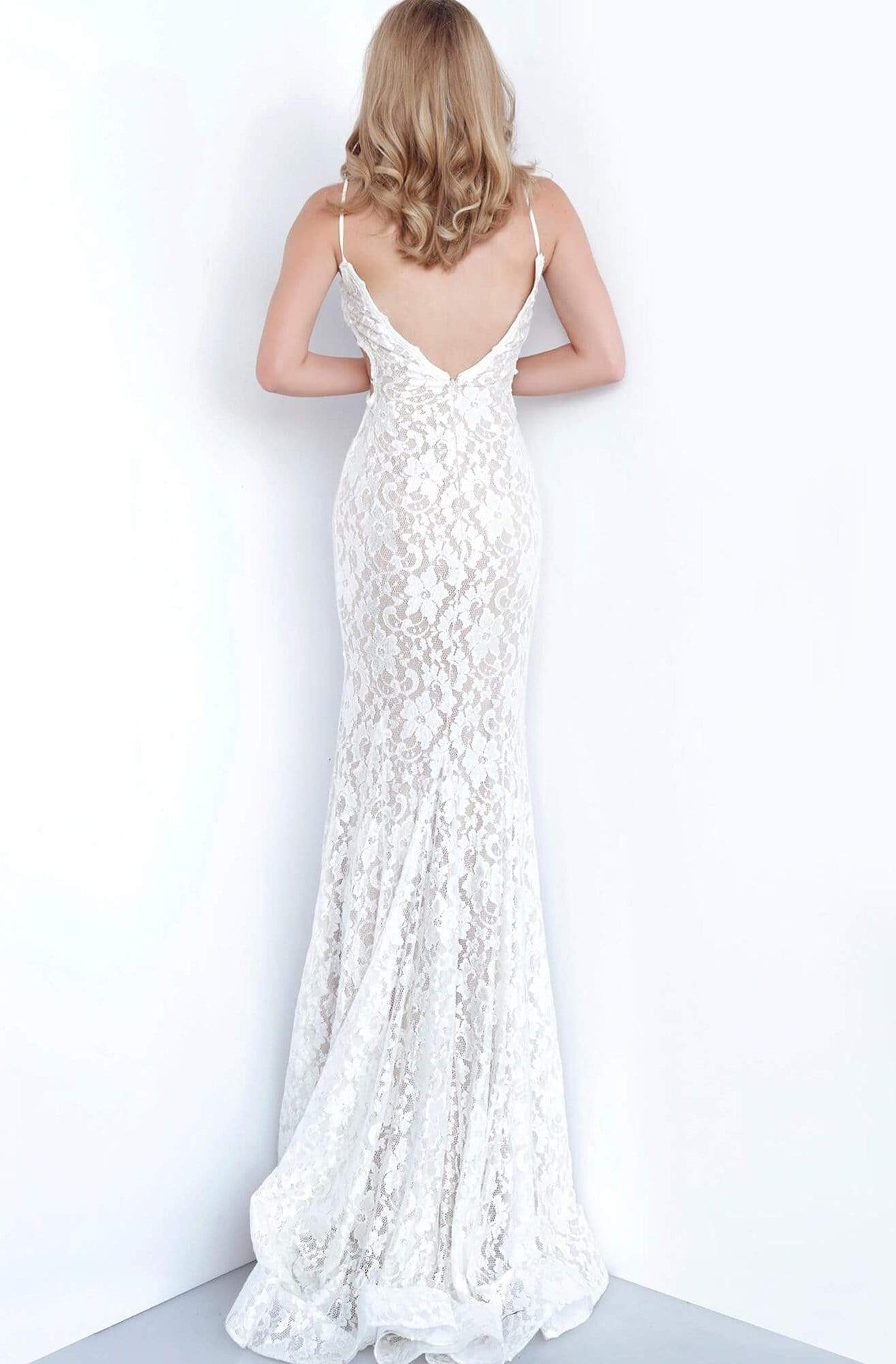 Jovani - 8082 Sexy Lace V Neck Spaghetti Straps Prom Dress In White